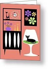 Cat In Pink Room Greeting Card