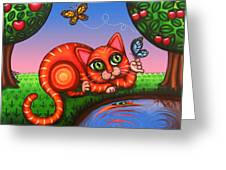 Cat In Reflection Greeting Card