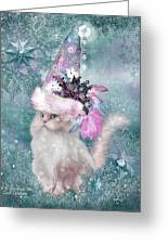Cat In Snowflake Hat Greeting Card