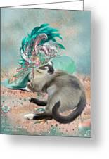 Cat In Summer Beach Hat Greeting Card