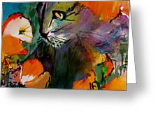 Cat In The Poppies Greeting Card