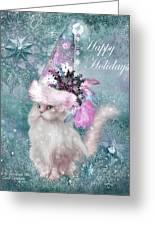 Cat In The Snowflake Santa Hat Greeting Card