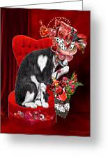 Cat In The Valentine Steam Punk Hat Greeting Card