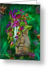 Cat In Tropical Dreams Hat Greeting Card