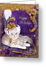 Cat In Victorian Santa Hat Greeting Card