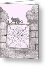 Cat On A Gate Greeting Card