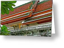 Cat On A Wat Po Roof In Bangkok-thailand Greeting Card
