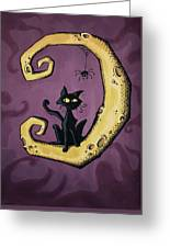 Cat On The Moon Greeting Card