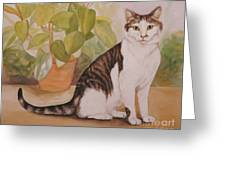 Cat With Plant Greeting Card