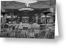 Catal Outdoor Cafe Downtown Disneyland Bw Greeting Card