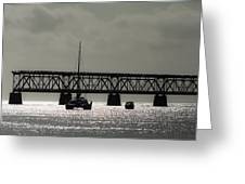 Catamaran Anchored At Old Bahia Honda Bridge Greeting Card