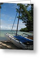 Catamaran On The Beach Greeting Card