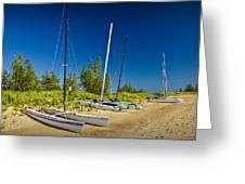 Catamaran Sailboats On The Beach At Muskegon No. 601 Greeting Card