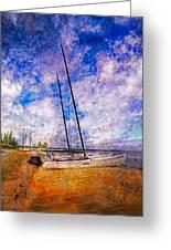 Catamarans At The Lake Greeting Card by Debra and Dave Vanderlaan
