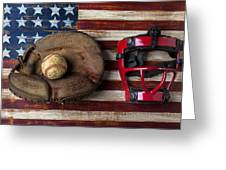 Catchers Glove On American Flag Greeting Card by Garry Gay