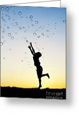 Catching Bubbles Greeting Card by Tim Gainey