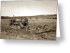 Caterpillar Sixty Working A Field  Circa 1930 Greeting Card