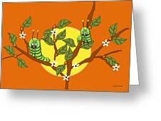 Caterpillars In The Orange Tree Greeting Card