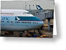 Cathay Pacific 747 Jumbo Jet Parked At Hong Kong Airport Greeting Card