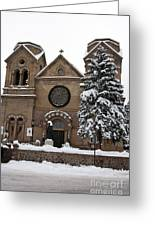 Cathedral Basilica Of St Francis In Snow Greeting Card