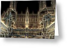 Cathedral By Night Greeting Card by Bernard MICHEL