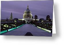 Cathedral Lit Up At Night, St. Pauls Greeting Card