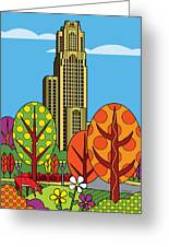 Cathedral Of Learning Greeting Card by Ron Magnes