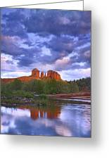 Cathedral Rock And Oak Creek At Red Greeting Card by Tim Fitzharris