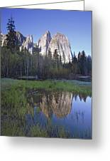 Cathedral Rock And The Merced River Greeting Card