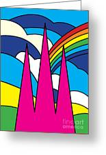 Cathedral Spires Stained Glass Lichfield Greeting Card
