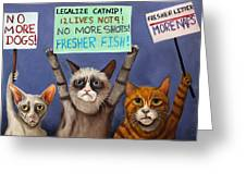Cats On Strike Edit 2 Greeting Card