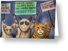 Cats On Strike Edit 3 Greeting Card