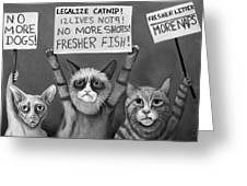 Cats On Strike Edit 4 Greeting Card