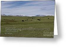 Cattle And Bible Verse Greeting Card