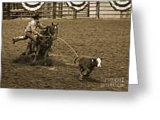 Cattle Roping In Colorado Greeting Card