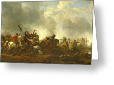 Cavalry Attacking Infantry Greeting Card