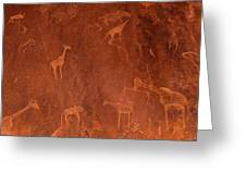 Cave Paintings By Bushmen, Damaraland Greeting Card