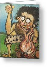Caveman And Fire Greeting Card