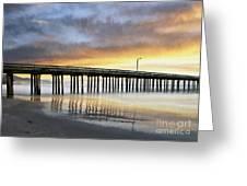 Cayucos Pier Reflected Impasto Greeting Card