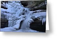Cedar Falls In Winter At Hocking Hills Greeting Card by Dan Sproul