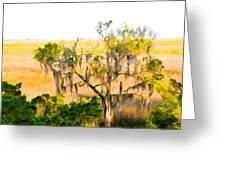 Cedar In The Marsh Greeting Card