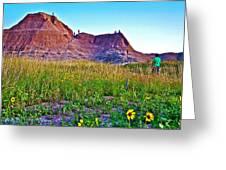 Cedar Pass At Dusk In Badlands National Park-south Dakota Greeting Card