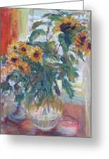Sale - Sunflowers In Window Light - Original Impressionist - Large Oil Painting Greeting Card