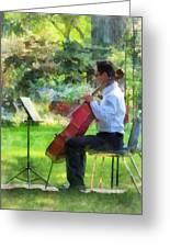 Cellist In The Garden Greeting Card