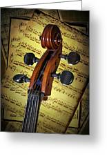 Cello Scroll With Sheet Music Greeting Card