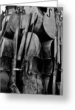 Cellos 6 Black And White Greeting Card