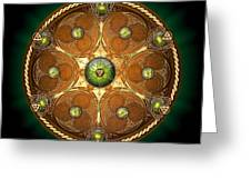 Celtic Chieftain Shield - Emerald Greeting Card by Richard Barnes