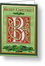 Celtic Christmas B Initial Greeting Card