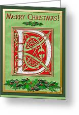 Celtic Christmas D Initial Greeting Card