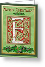 Celtic Christmas E Initial Greeting Card